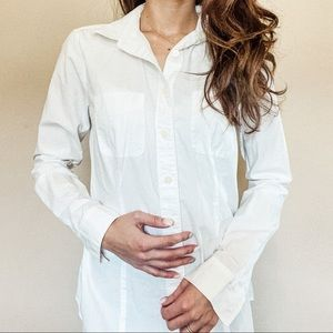 White Long-Sleeve Button-Up